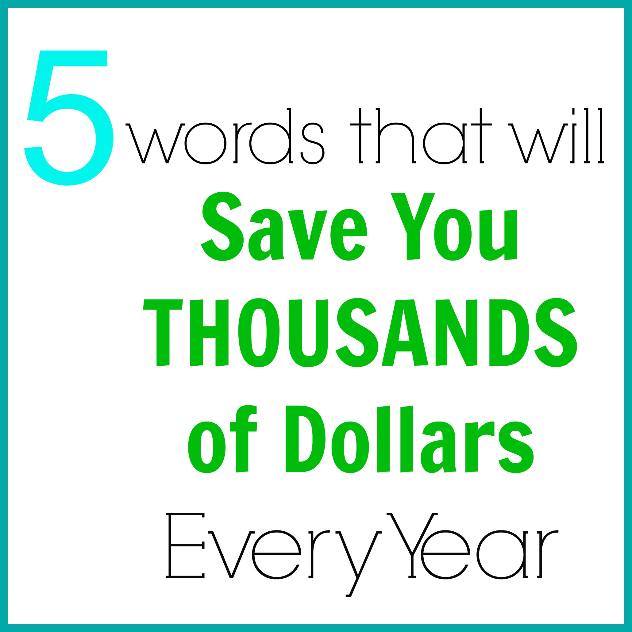 5 words to save money
