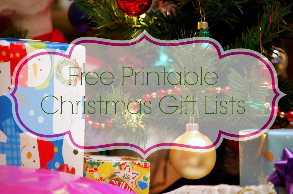 free printable cute Christmas Gift lists