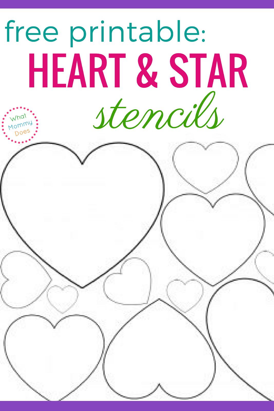 photo regarding Free Printable Heart Template called No cost Printable Center Stencils Star Templates What Mommy Does