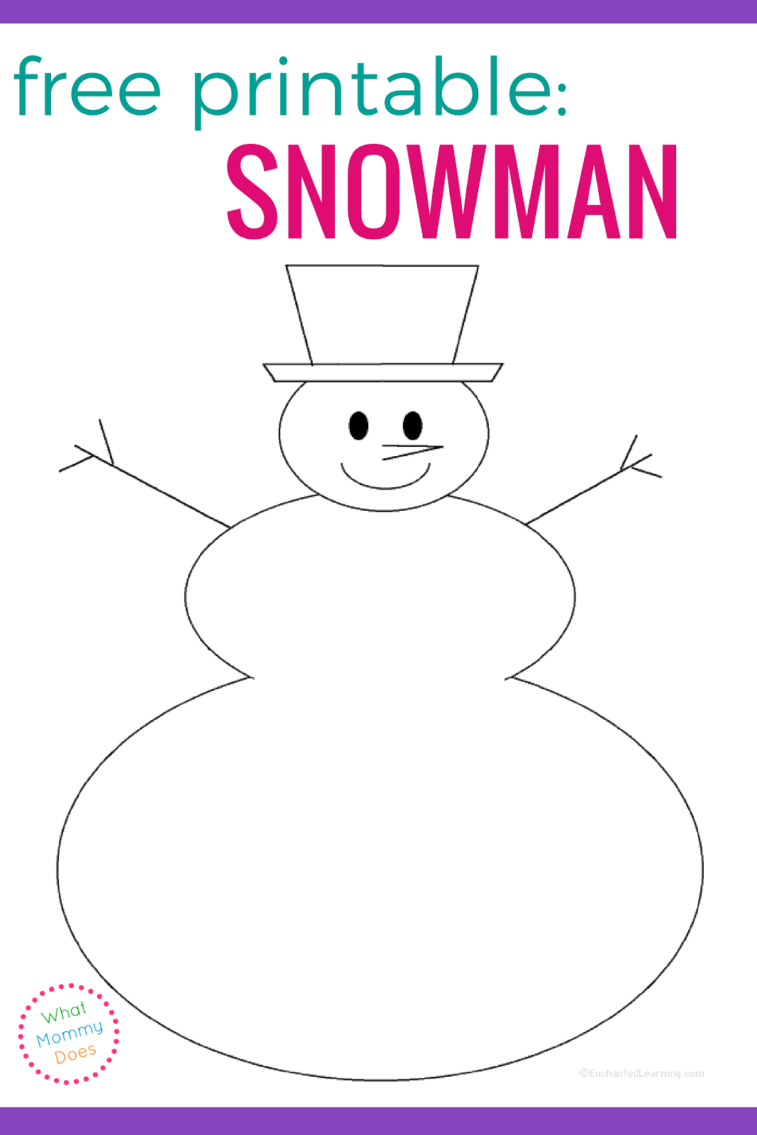 picture regarding Free Printable Snowman named Free of charge Blank Snowman Templates What Mommy Does