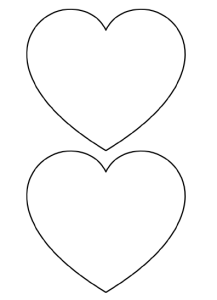 two medium heart shapes for crafting - free printable stencil