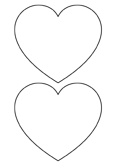 This is a graphic of Printable Heart Shapes inside half