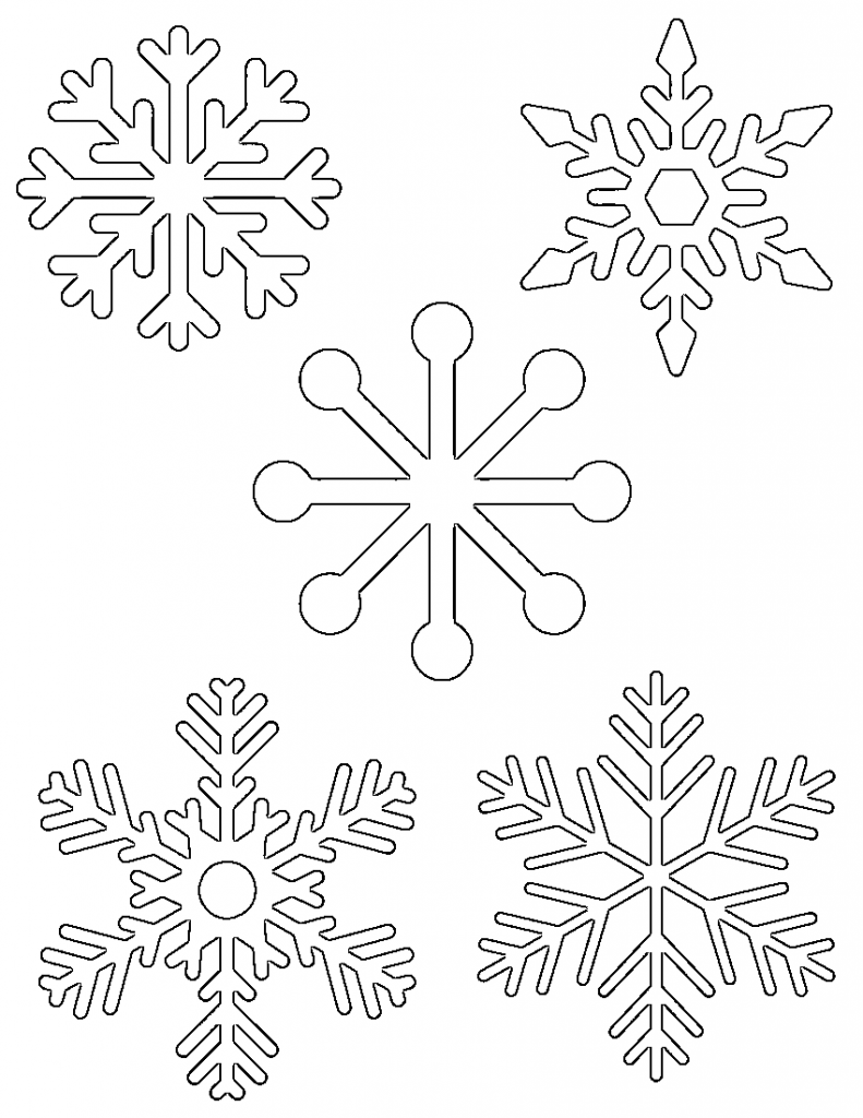 Free printable snowflake templates large small stencil patterns 5 small snowflakes on one page maxwellsz