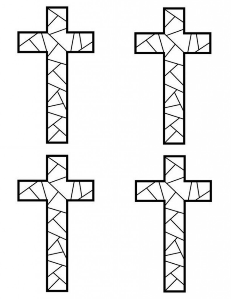 Printable coloring pages of crosses - 4 Mosaic Cross Print Outs On One Page