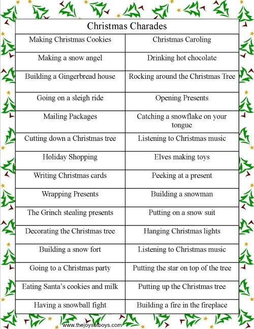 Joys of Boys Christmas Charades