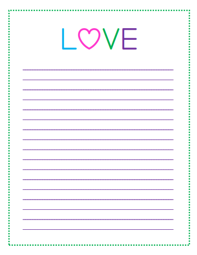 7 LOVE hearts lined paper