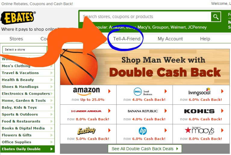 Ebates dashboard Tell-A-Friend example
