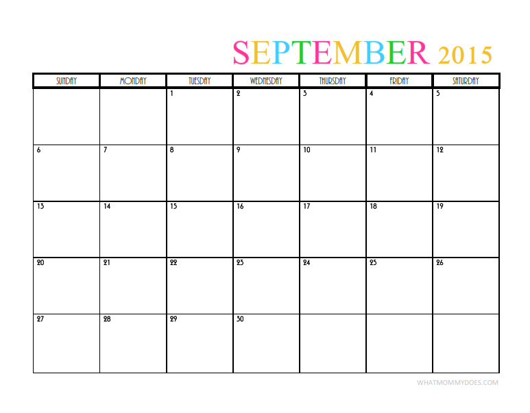 calendar for the month of September