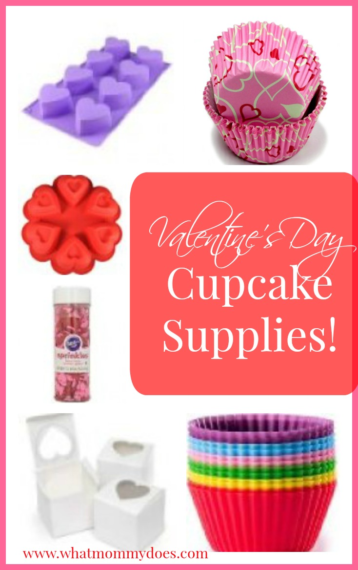 Valentine's Day cupcake supplies