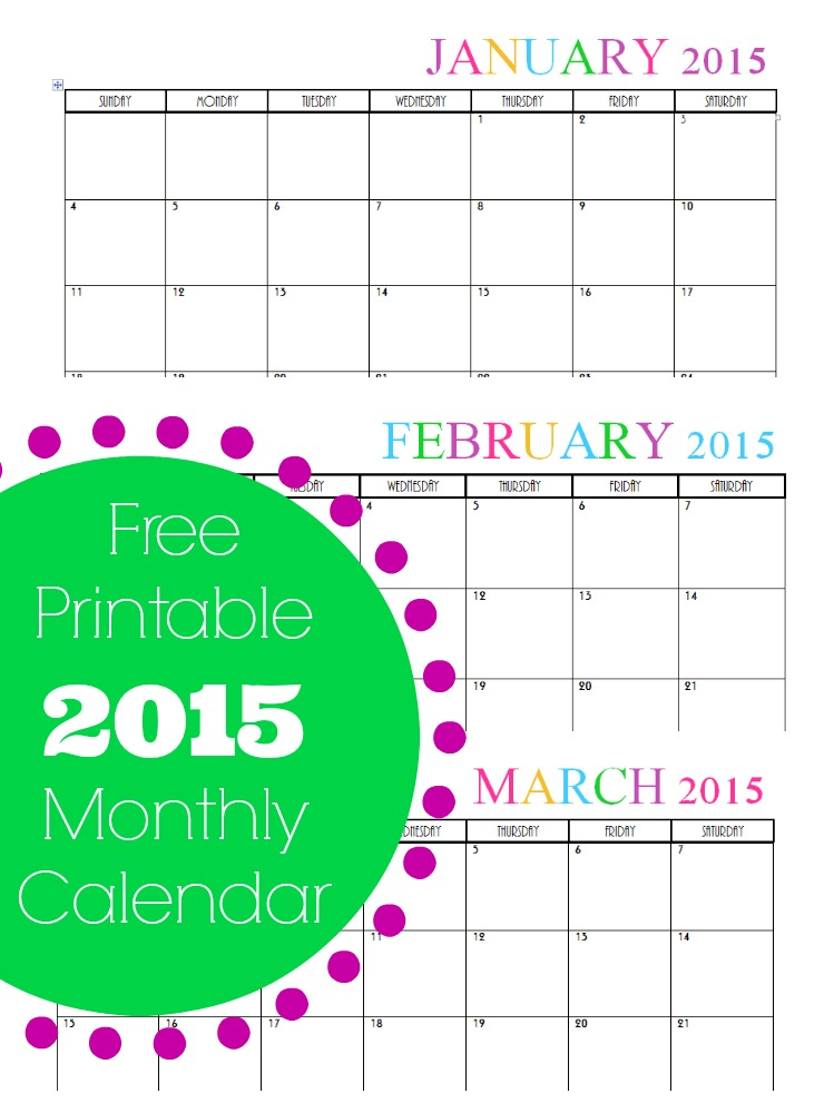 Free Printable Monthly 2015 Calendar