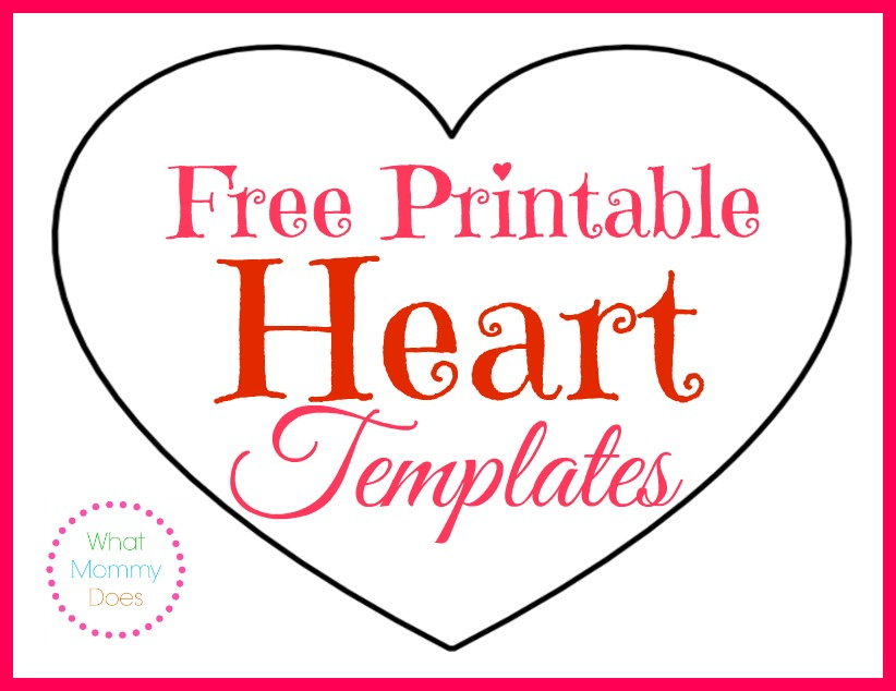 image regarding Printable Valentine Hearts called No cost Printable Middle Templates Massive, Medium Very low