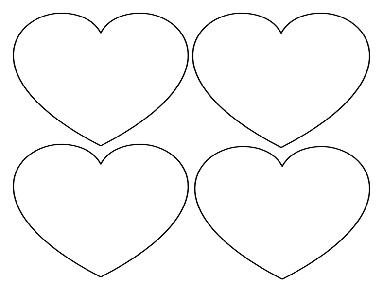 4 large hearts landscape orientation