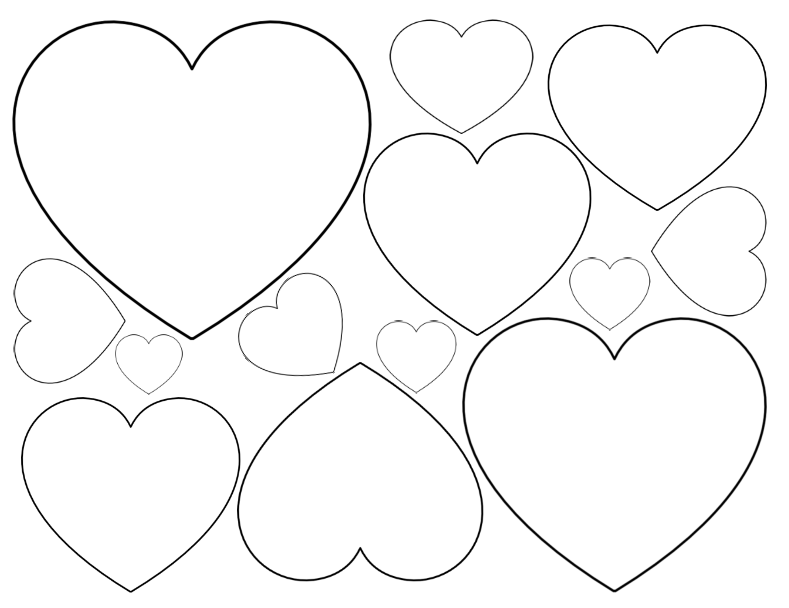 very small, small, medium heart shapes on one page