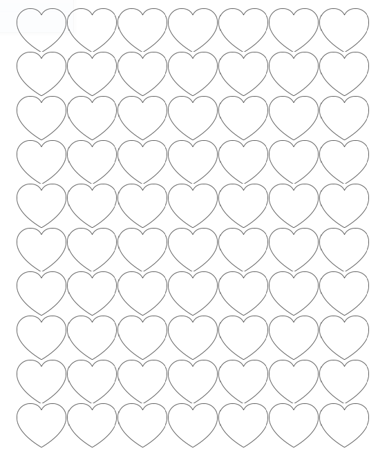 Tiny Hearts - 70 heart outlines on one page