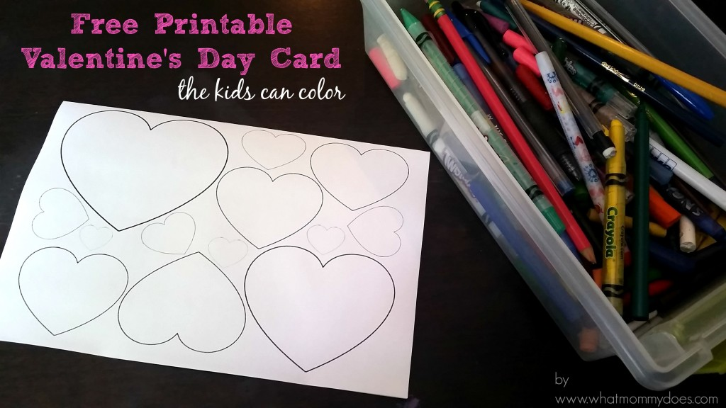 heart patterned printable Valentine's Day card