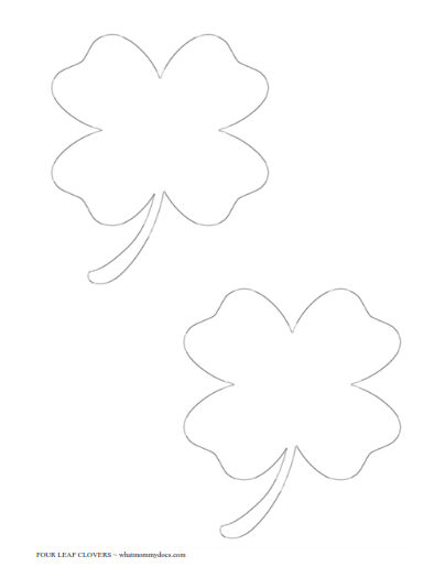 4 leaf clovers 2 on one page - Four Leaf Clover Printable