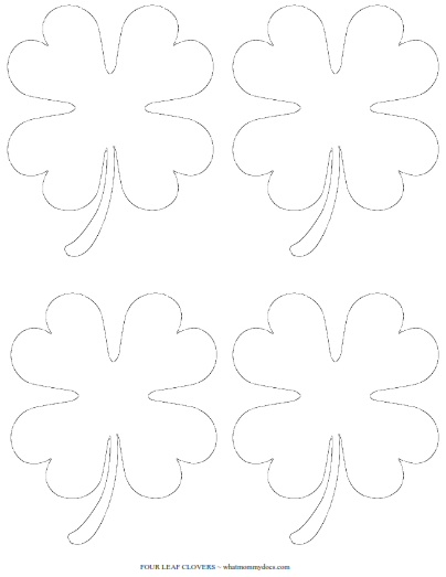 4 small shamrock cutouts on one page - Four Leaf Clover Printable