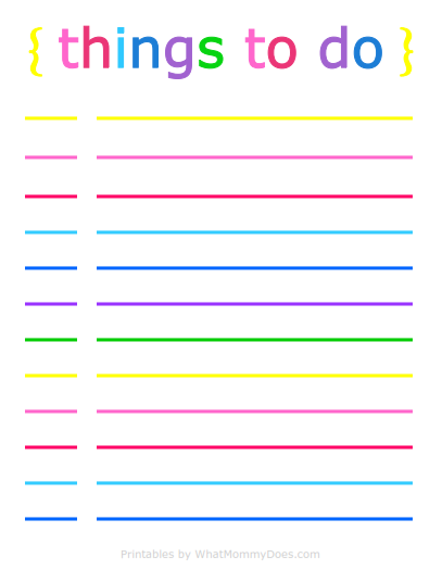 picture about Daily to Do List Printable titled Colourful Printable Day-to-day List for Retaining Up With Things