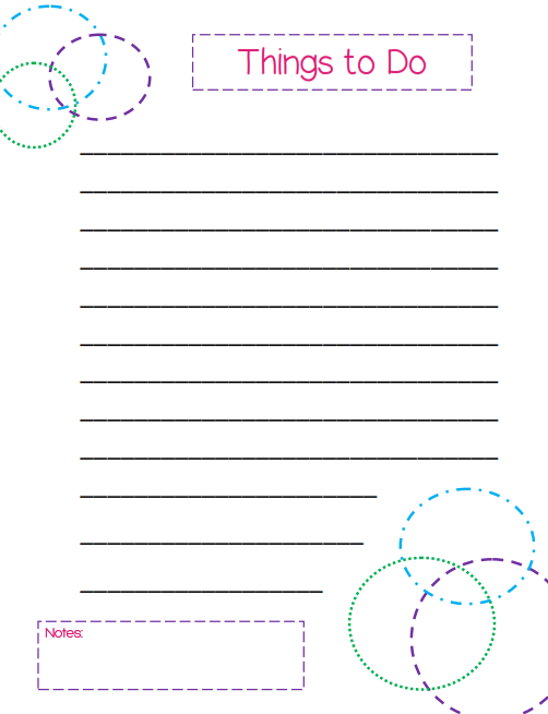 Daily things to do list - a free printable from WhatMommyDoes