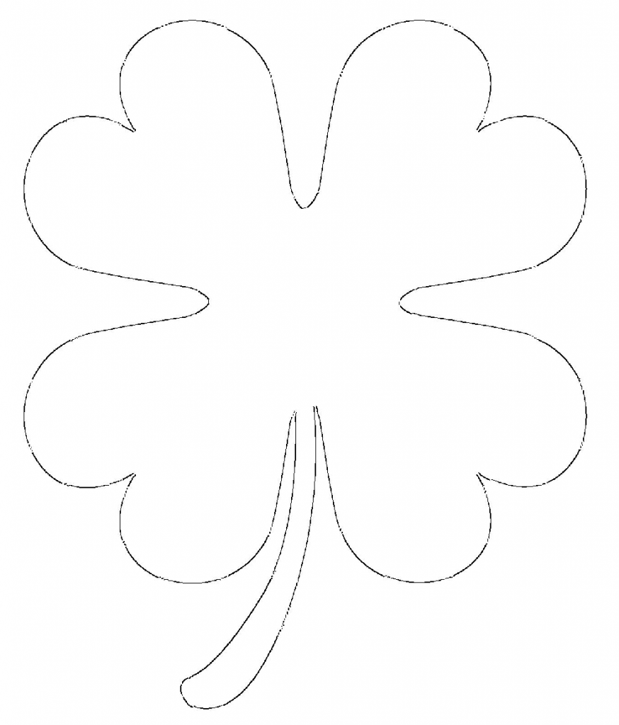 Printable 4 leaf clover heart shaped leaves