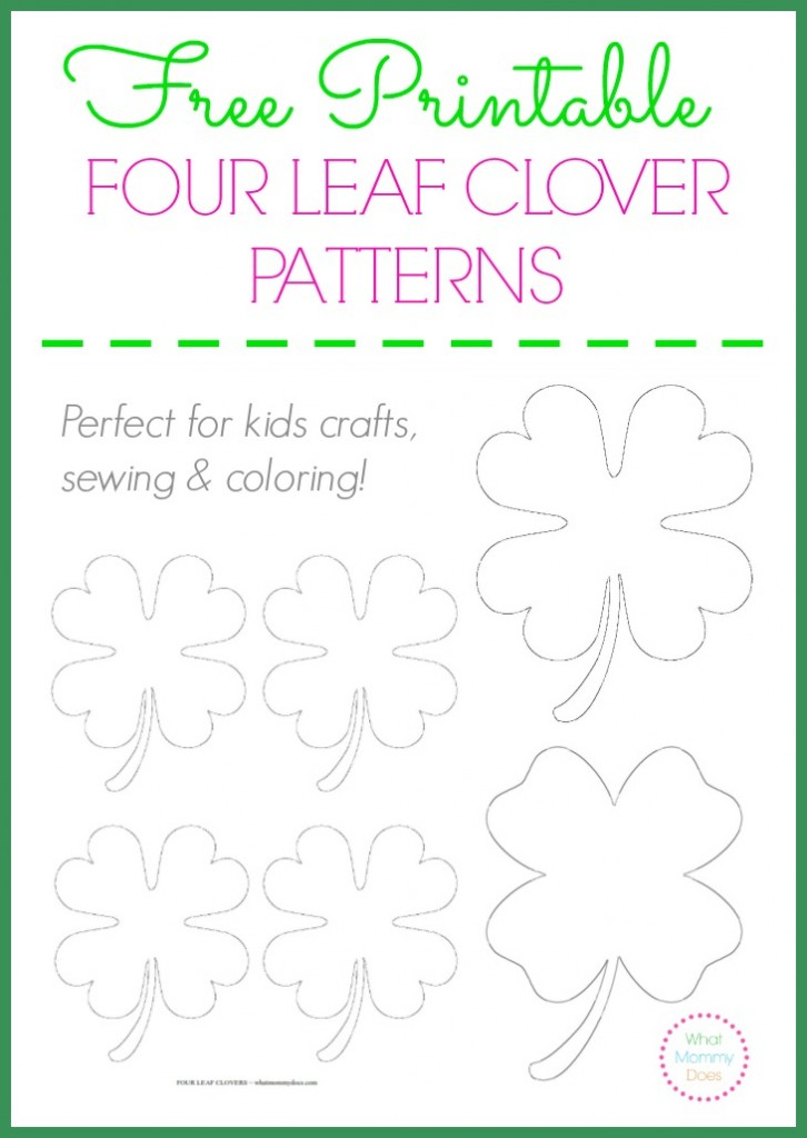 free printable four leaf clover patterns large small templates to print out - Four Leaf Clover Printable