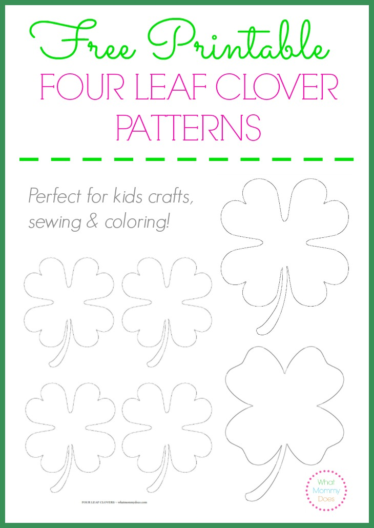 Free Printable Four Leaf Clover Patterns - large & small templates to print out