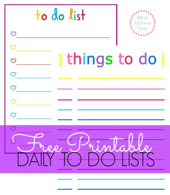 Free Printable Rainbow Themed Daily Checklists