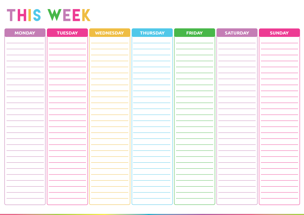 Cute Weekly Calendar Template : Free printable weekly to do list cute colorful template