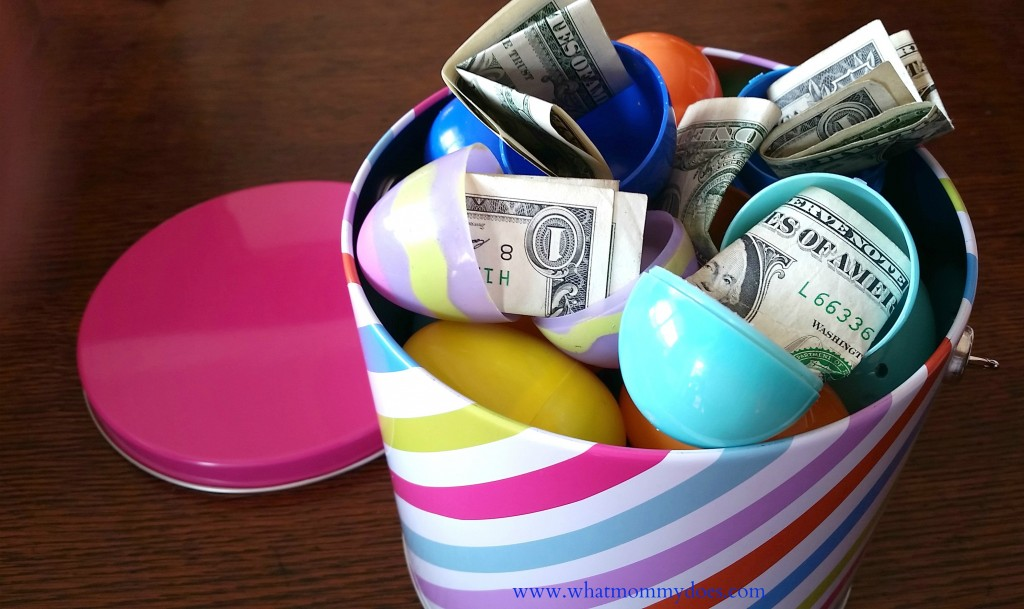Bucket full of money filled easter eggs a cute money gift idea easter basket money1 negle Images