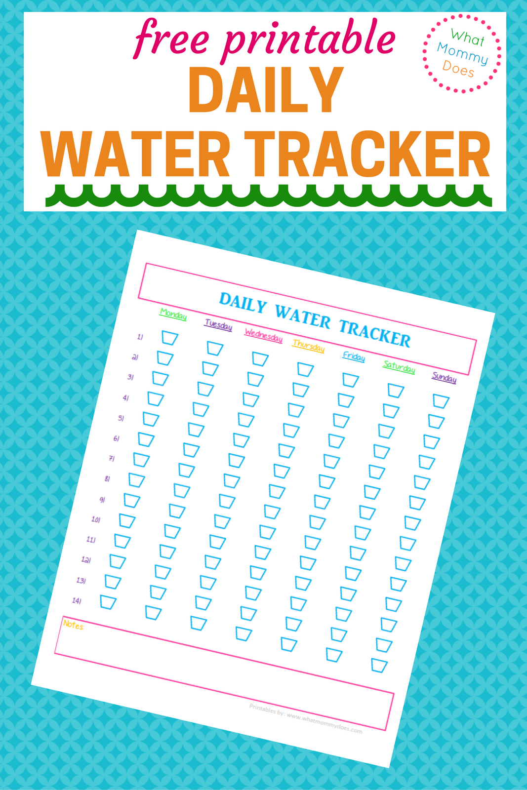 Free Water Tracker Printable - I try to drink at least 8 glasses of water a day but like to hit 10-14 to feel my best and aid weight loss. This daily water intake chart is the perfect tracking template for my 30 day water challenge to keep my water consumpton on point!