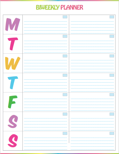 graphic about Cute Weekly Planners titled Free of charge Printable Bi-Weekly Planner - Lovely Vibrant Template