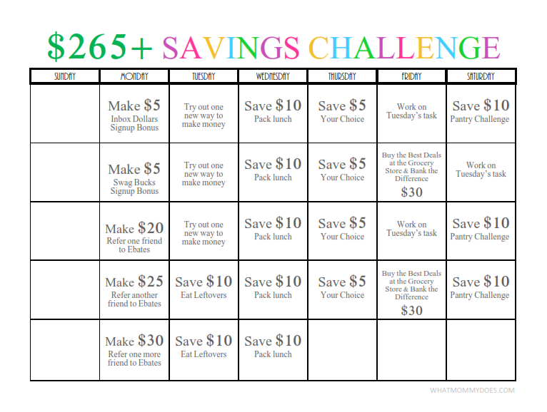 $265 One-Month Money Challenge! A Fun Way to Save / Earn Nearly $300 Without Even Trying