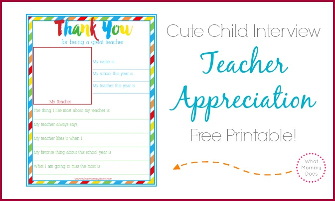 Thank You for Being a Great Teacher End of Year Preschool / Elementary School Student Survey