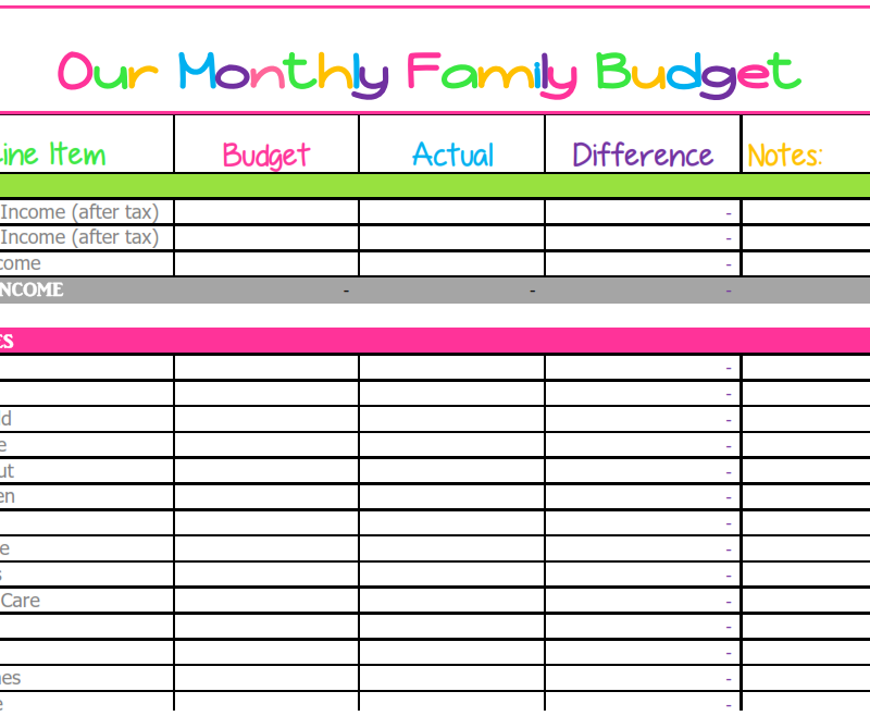 free downloadable budget worksheets