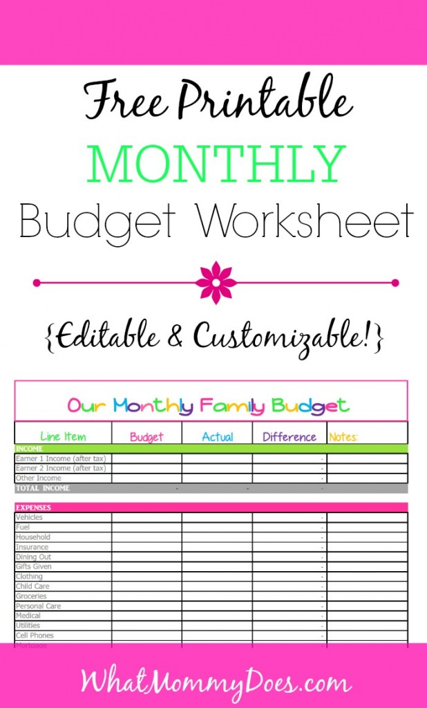 Simple Budget Worksheet Home Budget Budget Worksheet Printable ...