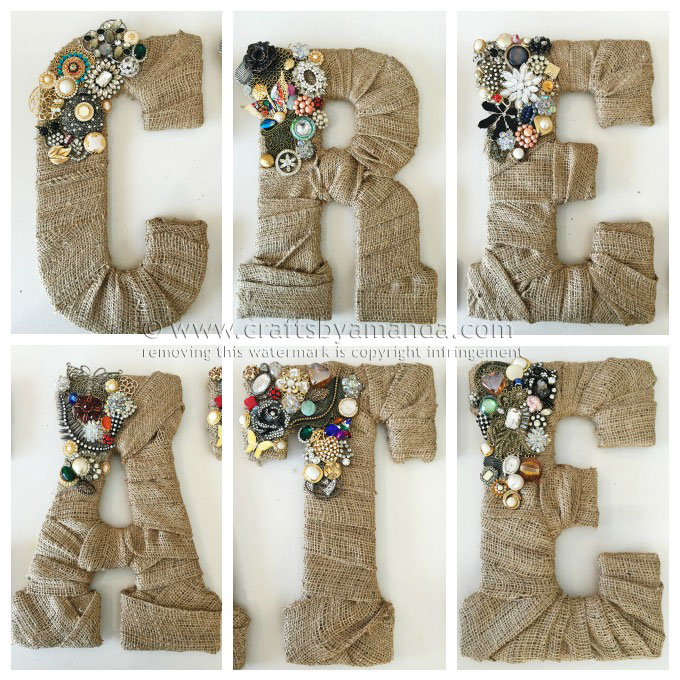 Jeweled Burlap Letters Idea #10 on a list of 50+ Crafts to Make and Sell at Crafts Fairs and Flea Markets! A great list of things to make and sell…all easy ideas anyone can do,even kids and teens. Part of a series on ways to make extra money.