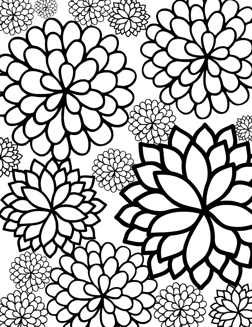 - Free Printable Bursting Blossoms Flower Coloring Page