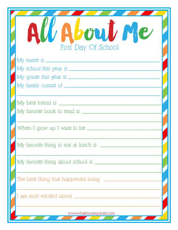 all about me back to school interview