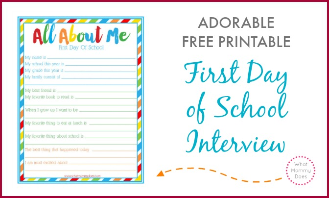 "First Day of School ""All About Me"" Interview ~ Free ..."