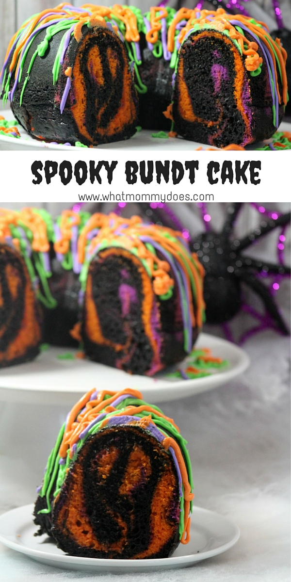 Spooky Bundt Cake - a fun Halloween dessert that the kids can help make! Your guests will scream with delight (or fright) when they see the hidden surprise their cake has in store