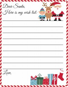 Free Printable Letter to Santa Template - Grab this adorable Christmas wish list printable for your kids! Such a cute idea.