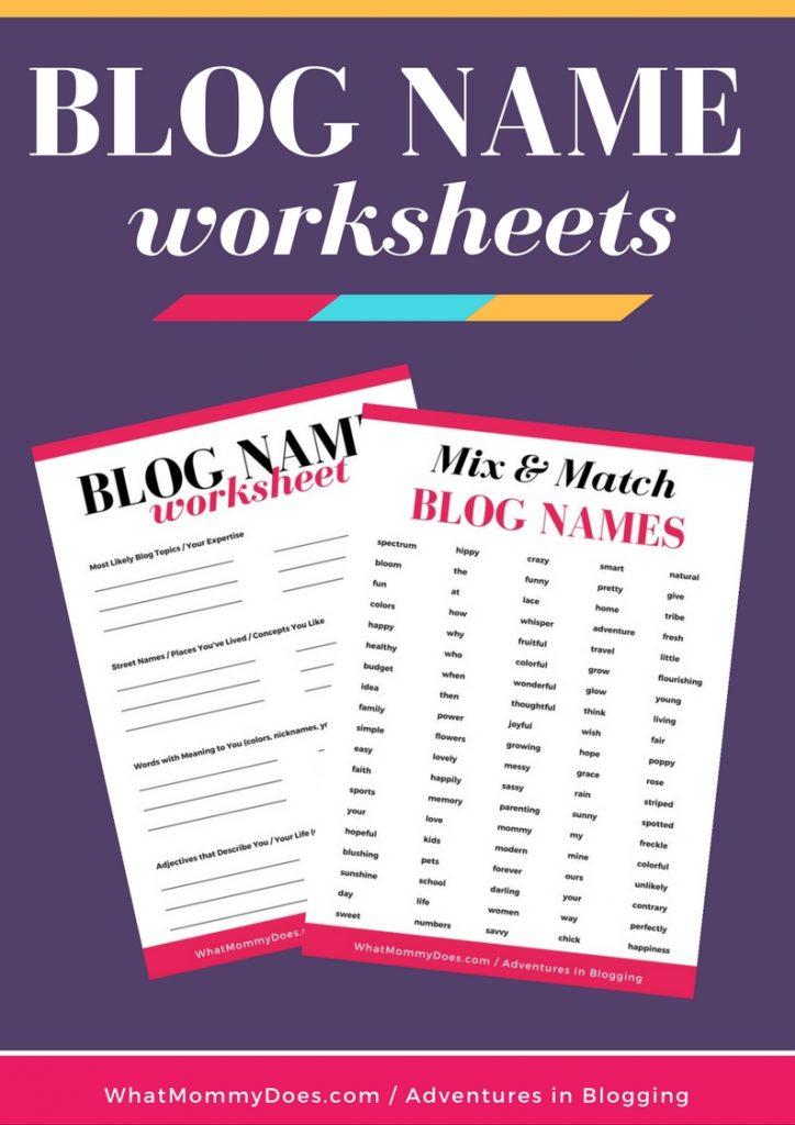 These free worksheets from WhatMommyDoes are perfect if you need help deciding on a blog name! These cheatsheets help you pick the PERFECT BLOG NAME which is important if you want to have a blog that's a reflection of YOU but that other people will be interested in reading. It's a fine line to walk!   create a blog ready to make extra money, blogging tips, how to start a blog, blogging for beginners