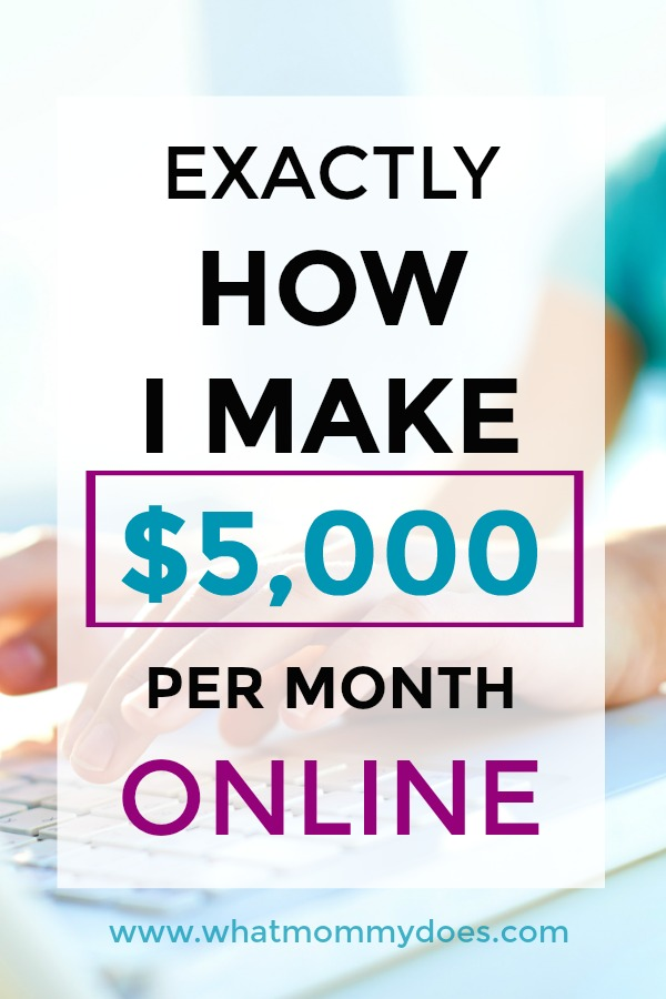 I've always wondered exactly how bloggers make money! Finally somebody explains it in easy to understand terms! This is how she earns $5,000 dollars per month online! She also gives explanations of exactly how each type of income stream works so you can see if it will work for you. | money making ideas for moms, work from home tips