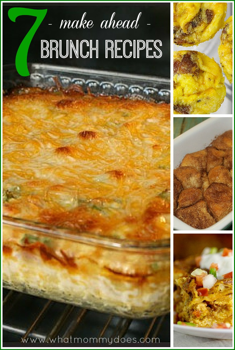 7 Make Ahead Brunch Ideas - easy & mostly cheesy Christmas breakfast recipes…mexican casserole, overnight french toast, bacon quiche, bacon cheddar omelette cups, cinnamon sugar pull apart biscuits | YUM!!!!