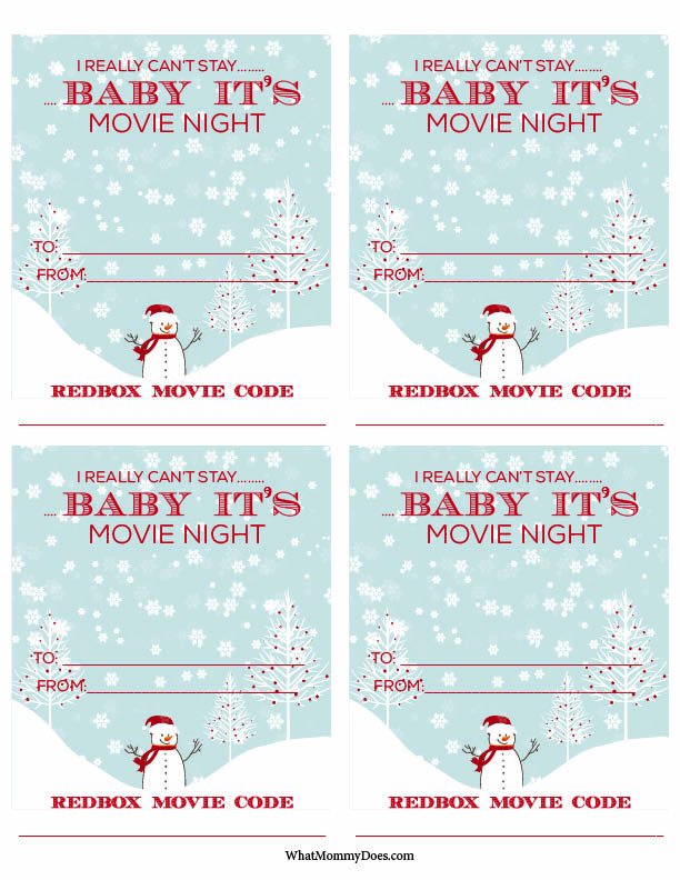 graphic about Printable Redbox Gift Cards identified as Lovable Redbox Neighbor Xmas Reward Concept - What Mommy Does