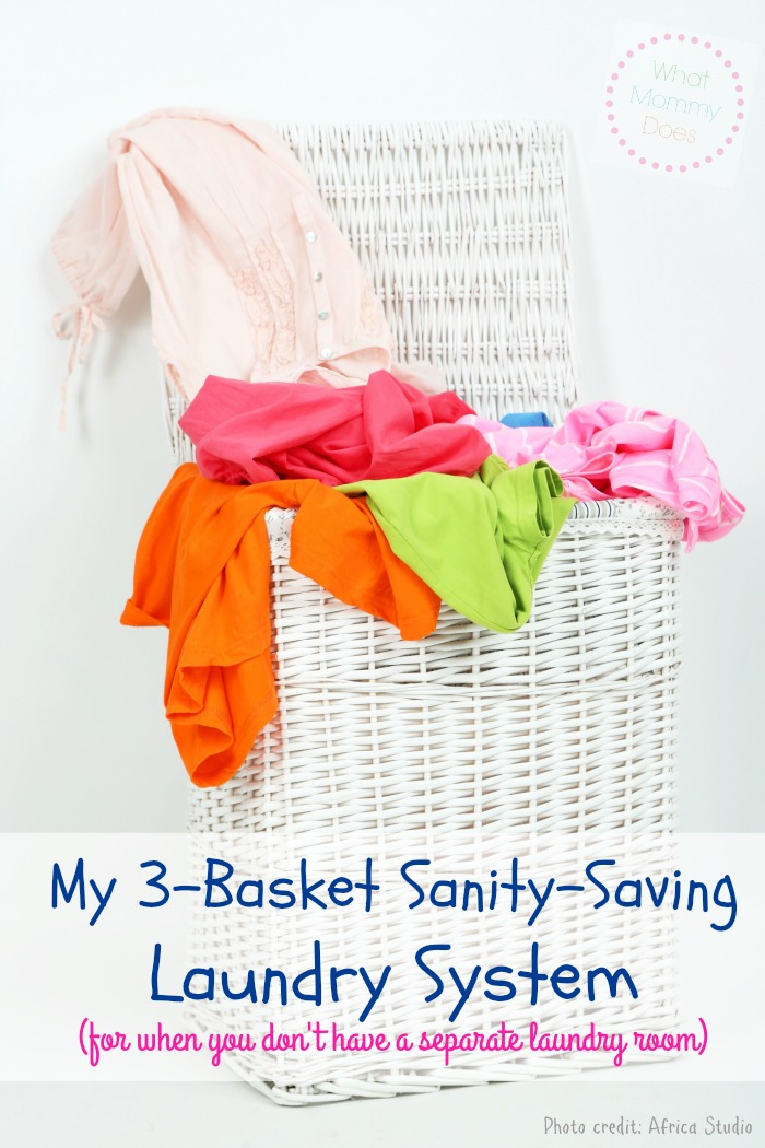 my 3-basket sanity saving laundry system
