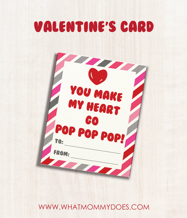 I think this is a super simple & fun Valentine's Day card for kids. It's cute just as it is, but it would also be cool to attach a Pop Rocks candy packet to it! Love neat DIY Valentine's Day card ideas like this! You can grab the free printable on this blog.