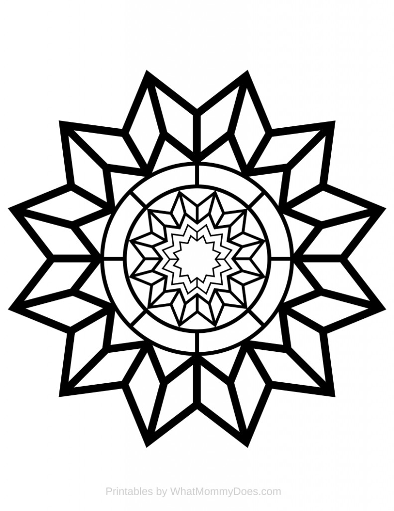 Free Printable Adult Coloring Page - Detailed Star Pattern - What