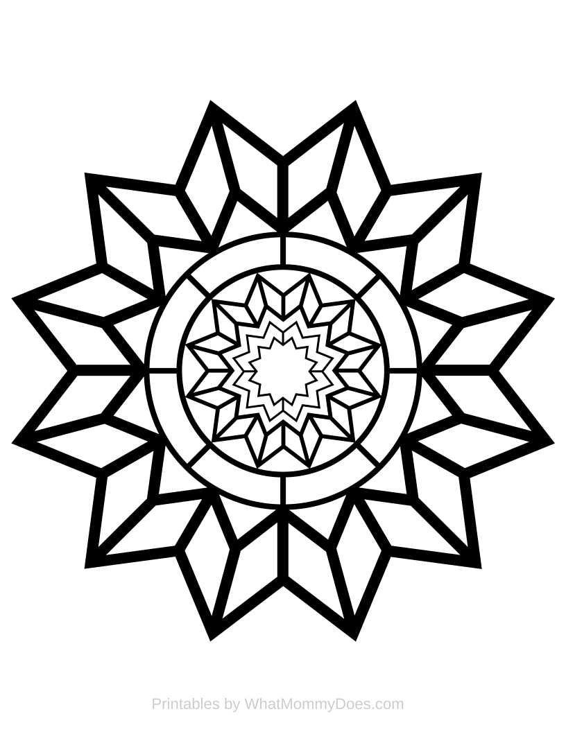 Free Printable Adult Coloring Page - Detailed Star Pattern ...