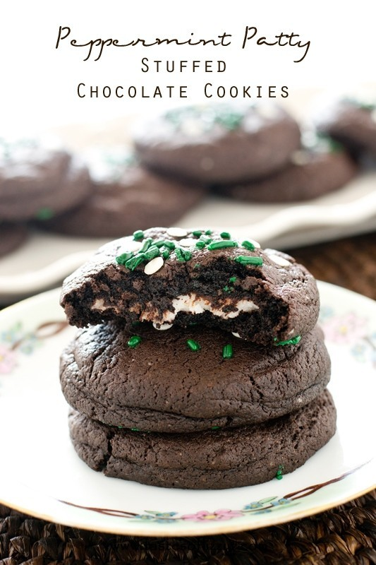 Peppermint Patty Stuffed Chocolate Cookies from Tastes of Lizzy's T's